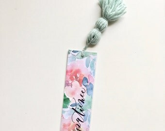Bookmark - Patience // Hand lettered | Watercolor | Hanging Tassel