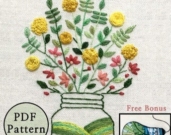 plus_ Bonus Free Pattern_Bright  Flowers In Spring__PDF files_+Reversed Pattern_instant download files_Hand Embroidery Pattern