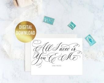 Funny Valentine Card Download, Printable Valentines Day Card For Boyfriend, Funny Valentines Day Card for Friend, 5x7 Card Printable