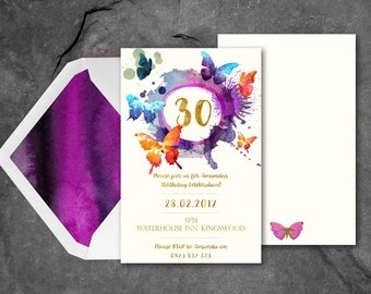 Butterfly Birthday Invitation, Gold Butterfly Invites, 30th Birthday Invitations, Purple and Gold Invites, Watercolour Butterfly Invitations
