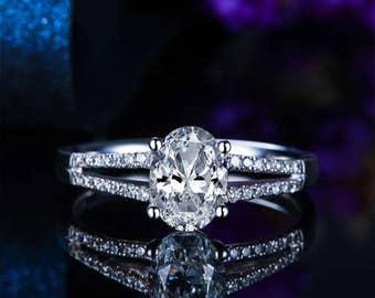 Oval Cut Moissanite Engagement Ring 14k White Gold Forever One Moissanite Ring Diamond Engagement Ring Art Deco Charles & Colvard