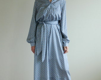 Light Blue Houndstooth Check Silky Shirt Dress