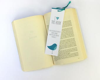 """Personalized """"I Love This Book"""" bookmark with illustrated blue bird - set of four"""