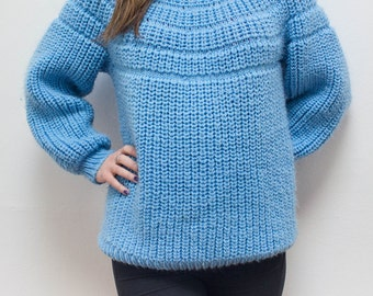 Chunky Knit Sweater Oversized Poofy Fluffy Light Blue Robins Egg Blue Slouchy Bulky Vintage 80s 90s Loose Thick