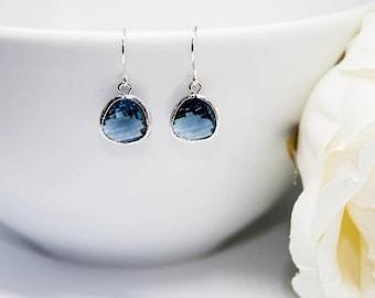 Stone blue earrings 925 Silver