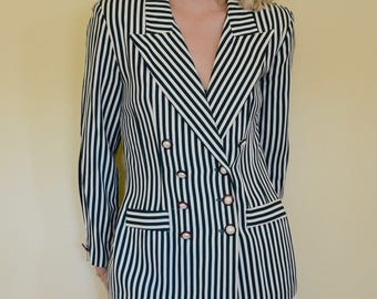 vintage 80s green striped double breasted nautical blazer
