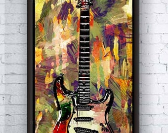 Guitar Canvas, Large Wall Canvas Art, Modern Canvas, Large Art, Framed Art, Music Canvas, Guitar Art, Huge Canvas, Large Wall Art, Canvas
