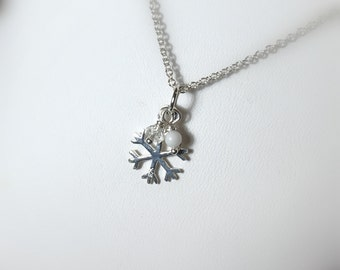 Sterling Silver Snowflake Pendant Necklace, .925 Silver, Gifts for her