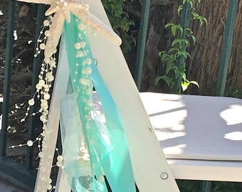 Beach Wedding Chair Decoration with Natural Starfish, Satin and Sheer Ribbons + Beaded Garland - 24 Ribbons - aisle decorations coastal