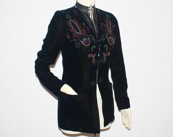 Vintage GIVENCHY NOUVELLE BOUTIQUE Paris Black Velvet Beaded Jacket Haute Couture Numbered