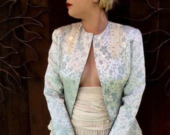 Vintage Bridal Jacket, Blue Silk Bridal Jacket, Wedding Jacket, OOAK, Victorian, Edwardian, Something Blue