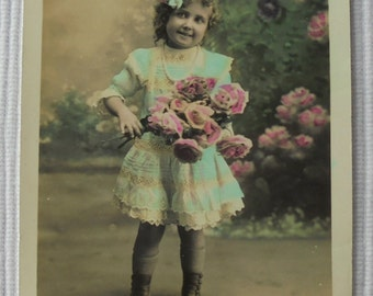 French Vintage Postcard - Little Girl with Flowers