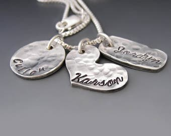 Sterling & Fine Silver Personalized Family Necklace / Children Names / Charm Necklace / Mother's Day Gifts / Custom Hand Stamped Necklace