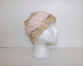 Antique Victorian Edwardian lace light pink silk night cap ladies hat ribbon bows