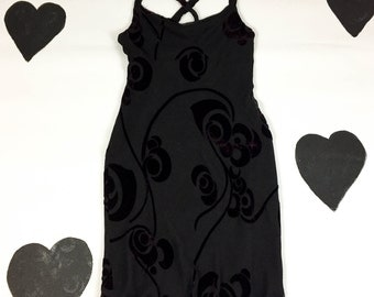 90s Black and Purple Floral Burnout Silky Dress / Goth / Overlay / Strappy / y2k / Cyber / The Craft / Clueless /  Criss Cross Back / Small