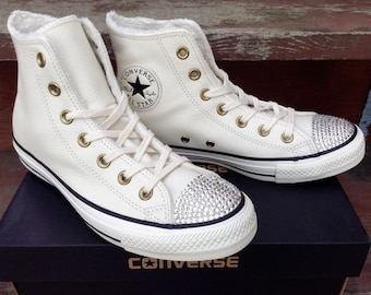 Ivory Leather Converse Fur Lined High Top w/ Swarovski Crystal Rhinestone Bling Jewel Bone Winter White Chuck Taylor All Star Sneakers Shoes