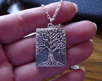Tree of Life Pendant on Chain, Tree of Life Necklace - Everyday Silver Spiritual Jewelry - SE-B6623-NK