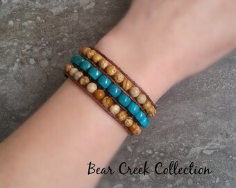 Turquoise Beaded Wrap Cuff, Western Boho Beige Brown Jasper Blue Green Semi Precious Gemstone Beads Distressed Brown Leather Bronze Sun Star