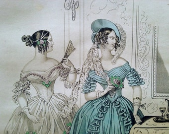 Fashion plate 1838, from the Petit Courrier des Dames, Original Hand Colored Steel Engraving, French Ladies, Illustration, Modes de Paris