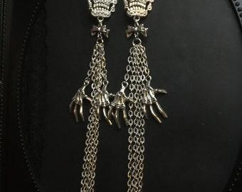 Skeleton Earrings, Gothic Earrings, Silver Earrings, Silver Skull Earrings, Long Chain Earrings, Shoulder Duster Earrings, Fringe Earrings