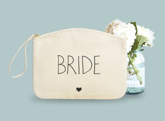 Pouch, Bride, organic cotton, gift bride, make-up case.