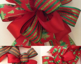 Christmas Bows /Christmas Tree Topper / Christmas Decor Set of 7 Bows / Christmas Red and Green Bows / Handmade and Design in wired ribbon