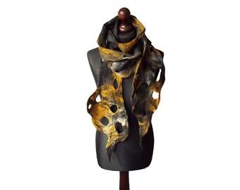 Felted scarf felt scarf felted collar handmade art to wear grey yellow black felt boho shawl women's gift OOAK