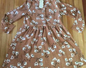 Women's Brown Floral Corduroy Mori Button Down Dress! Size M-L