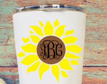 Sunflower monogram decal - Flower monogram decal - Car decal- Yeti decal - Rtic Decal - Lilly Pulitzer Inspired
