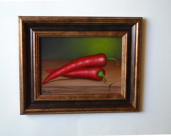 Original 5x7' small still life painting, red chili pepper painting, kitchen painting, food art, miniature, vegetable artwork, chilli peppers