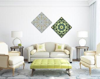 Set of 2 canvas prints ~ Inspirational Mandala Wall Art ~ Feng Shui art for home decor ~ Sacred Geometry ~ Crystal Healing ~ Abundance