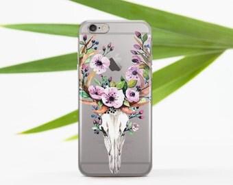 Floral Skull Ram Case to Samsung Galaxy S7 Edge Case Phone Clear Case 7 Plus iPhone 6s Case Plus Case to Samsung S7 Floral 7 Case Phone 025