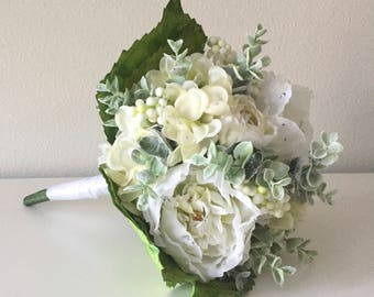 White Peony Bouquet, Cream Peony Bouquet, Eucalyptus Bouquet, White and Cream Bouquet, White Bridal Bouquet, White Bridesmaid Bouquet, Bride