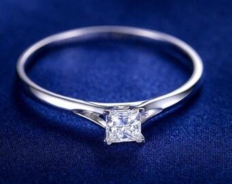 Princess Cut Moissanite Engagement Ring 14k White Gold Forever One Moissanite Ring Solitaire Diamond Engagement Ring Charles & Colvard