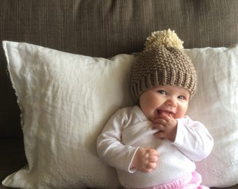 Knit Baby Pom Pom Hat | Brown and Ivory Knit Hat | Baby Boy | Baby Girl