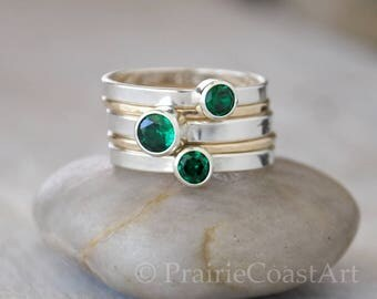 Gold & Silver Emerald Ring Set - Sterling and 14k Gold Filled Emerald Stacking Ring Set  - May Birthstone Emerald Ring