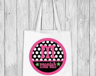 Girls Monogram Tote Bag, Personalized Tote, Girls Gift, Initial Tote Bag