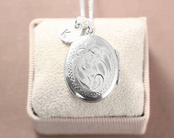 Sterling Silver Locket Necklace, Small Oval Vintage Picture Pendant with Custom Initial Charm - Darling
