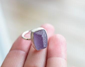 Sterling Silver Amethyst Ring. Natural Quartz. February Birthstone. Bezel Amethyst Statement Ring. February Birthday Gift For Her