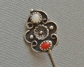 Vintage Native American NAVAJO Blossom STICKPIN Coral Moonstone Pin STERLING Silver c.1960's