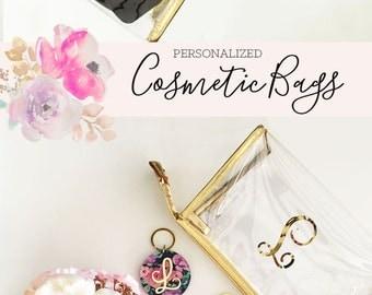 Monogram Makeup Bags - Bridesmaid MakeUp Bags - Personalized Cosmetic Bag Monogram Bridesmaid Gift Ideas (EB3167) Gold Cosmetic Bags