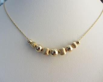"New Handmade 14k Gold Beaded Necklace - 16 1/4"" x .75mm - 1.44g"