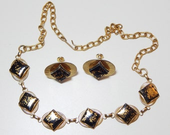 Faux Stone Necklace Clip-on Earring Set // 60s // Vintage