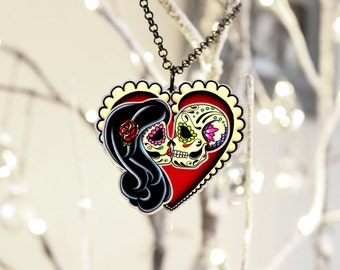Ashes to Ashes . . . Forever Love Day of the Dead Couple Necklace