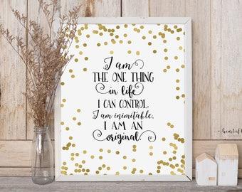 Printable art Inspirational quote print I am an original Motivational wall art Gold print I am inimitable Home office wall art HEART OF LIFE