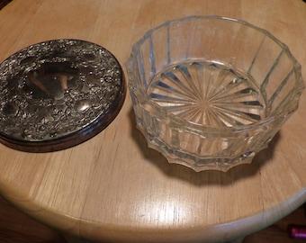 Vintage pewter and glass jar, Vintage dresser jar, Cut Glass Vanity Dresser Powder Jar, gift for her, trinket dish