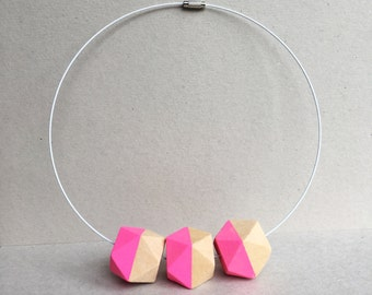 Pink Geometric Wooden Bead necklace