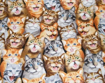 BTY Cute SELFIE CATS Kittens Print 100% Cotton Quilt Craft Timeless Treasures Fabric by the Yard