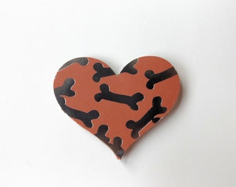 Dog Bone Heart Shaped Magnet//Refridgerator Magnet//Stationary//Home and Office// Organization//Photo Magnet//Pet Products//Dog Supplies