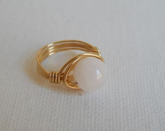 Gold wire wrapped rose quartz ring, boho style, everyday ring, festival chic jewelry, gold wire, neutral
